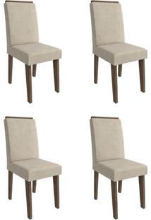 Conjunto Com 4 Cadeiras De Jantar Milena Suede Marrocos E Bege