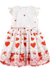 Vestido Infantil De Festa Libelinha Em Estampa Barrado Ursos E Corações Off White