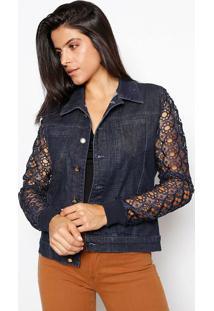 Jaqueta Jeans Com Renda - Azul Marinhosawary