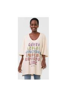 Camiseta Colcci Lettering Oversized Off-White