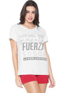 Camiseta Lança Perfume Lettering Off-White