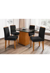 Conjunto De Mesa De Jantar Com Tampo De Vidro Jasmin E 4 Cadeiras Ana Ii Veludo Preto