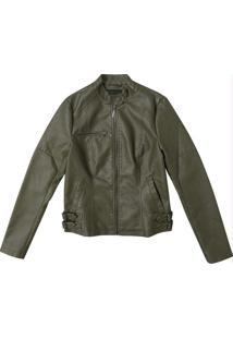 Jaqueta Verde Em Pu Sintético