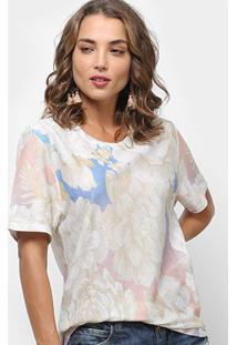 Camiseta Farm Maxi Chita Lumi Feminina - Feminino-Off White+Azul