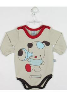 Body Bebê Manga Longa Cachorrinho - Masculino-Cáqui