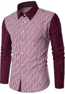 Camisa Masculina Slim Listrada Manga Longa - Vermelho Pp
