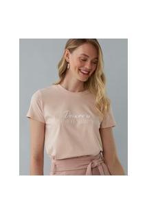 Amaro Feminino T-Shirt Deixar Ir Para Deixar Vir, Rosa Claro