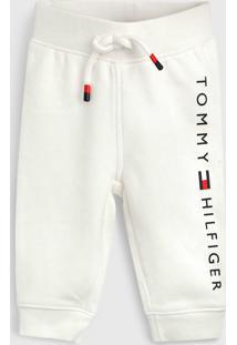 Calça Tommy Hilfiger Kids Infantil Logo Off-White