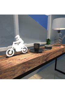 Escultura De Mesa Adorno Motocross Radical Branco Único