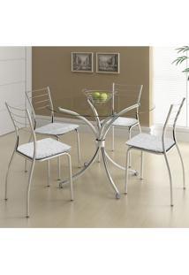 Conjunto Mesa 375 Vidro Incolor Cromada Com 4 Cadeiras 1700 Fantasia Branco Carraro