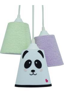 Lustre Crie Casa Pendente Cacho Quarto De Beb㪠Panda - Branco - Dafiti