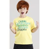 Camiseta Infantil Brasil Manga Curta Gola Careca Amarela bc1f6dbc80751
