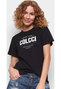 Camiseta Colcci Original Design Básica Feminina - Feminino-Preto