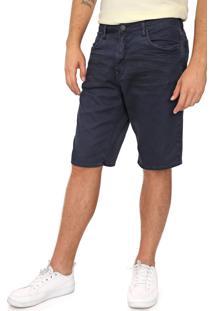 Bermuda Sarja Calvin Klein Jeans Reta Dirty Azul-Marinho