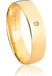 Aliança De Ouro 18K Anatômica Abaulada Com Diamante-Alianças Exclusivas Coliseu(5,00Mm)