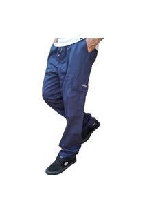 Calça Cargo Masculina 6 Bolsos Skate Militar Azul