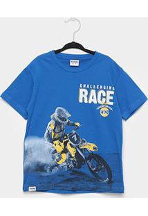 Camiseta Infantil Fakini Race Masculina - Masculino-Azul