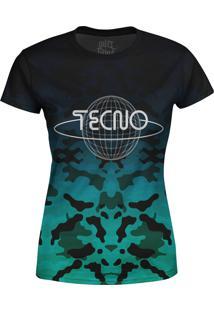 Camiseta Estampada Baby Look Over Fame Tecno Azul - Azul - Feminino - Poliã©Ster - Dafiti