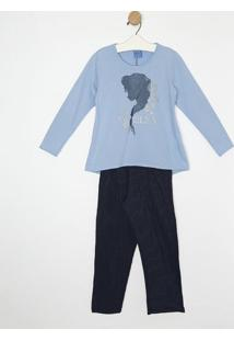"Pijama ""Elsa Frozen®""- Azul & Azul Marinholupo"