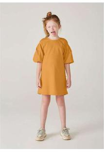 Vestido Infanti Menina Com Mangas Bufantes Amarelo