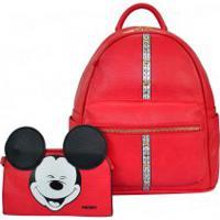 23a437f60 Bolsa Mochila Feminina Disney Mickey Funny Com Necessaire