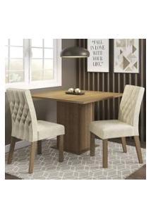 Conjunto Sala De Jantar Madesa Maju Mesa Tampo De Madeira Com 2 Cadeiras Rustic/Imperial