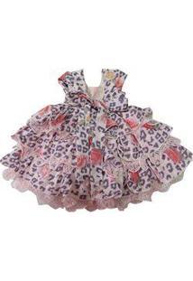 Vestido Para Bebê Pupila Rosa Com Flores Estampadas Aplicação De Renda Nos Babados Acompanha Broche