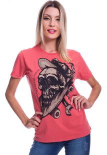 Camiseta Jazz Brasil Caveira Sk8 Vermelha - Kanui