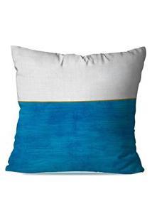 Capa De Almofada Avulsa Decorativas Branco E Azul 35X35Cm