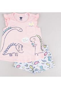 Conjunto Infantil De Regata Dinossauros Com Babado Rosa Claro + Short Estampado Cinza Mescla Claro