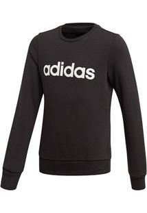 Blusa Moletom Infantil Adidas Yg E Linear Sweat Feminina - Feminino-Preto+Branco