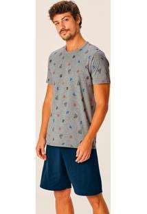Pijama Mescla Náutico Masculino