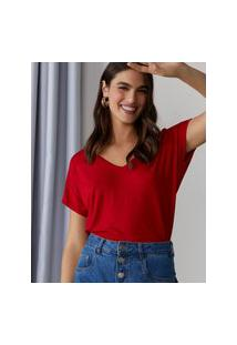 Amaro Feminino T-Shirt Básica Viscose Decote V, Vermelho Vivo