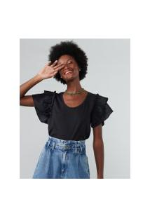 Amaro Feminino T-Shirt Malha Com Babados, Preto