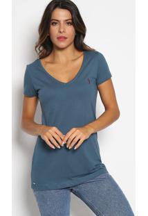 Camiseta Com Bordado- Azul Escuro & Vinhoaleatory