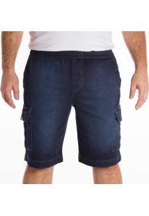 Berrmuda Jeans California Prime Elástico Azul