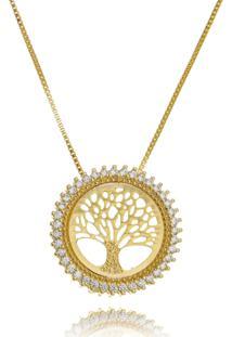Colar Drusi Semi Joias Medalha Arvore Da Vida Dourada - Dourado - Feminino - Dafiti