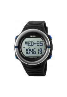 Relógio Digital Skmei -1111- Preto Prata E Azul