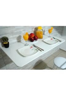 Mesa De Parede Dobravel-100Cx50L -Mdf Branco Prateleiras P/Cozinha Com Cantos Arredondados