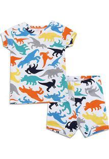 Conjunto Pijama Infantil Gap Dinossauro Masculino - Masculino-Off White