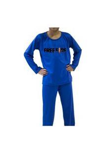 Pijama Free Fire Infantil Inverno Manga Longa Azul