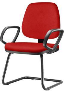 Cadeira Job Com Bracos Fixos Assento Courino Vermelho Base Fixa Preta - 54552 Sun House