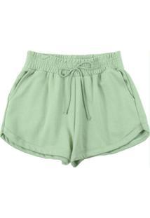 Shorts Em Moletom Com Bolso Funcional Verde