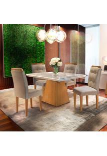 Mesa De Jantar Luna 1,20M Com Vidro Offwhite + 4 Cadeiras Imperatriz Turim 07 - Imbuia