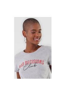 Camiseta Enfim Lettering Bad Decisions Cinza