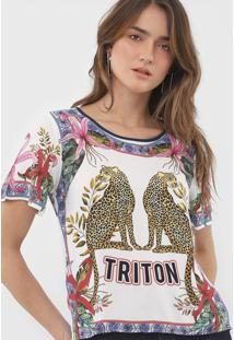 Camiseta Triton Estampada Off-White/Azul - Off White - Feminino - Viscose - Dafiti