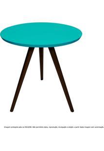 Mesa Lateral De Canto Tripé Pequena Laqueada Tabaco E Azul Tiffany