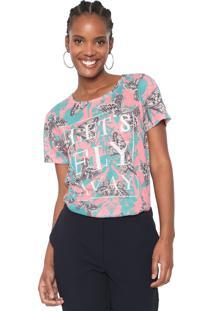 Camiseta Cantão Fly Away Rosa/Verde