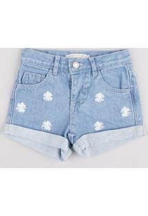 Short Jeans Infantil Com Bordado Floral Barra Dobrada Azul Claro