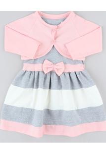 Vestido Infantil Sem Manga Cinza Mescla + Bolero Manga Longa Rosa Claro